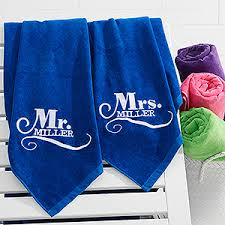 wedding gift towels mr mrs embroidered towel set 35x60 wedding gifts