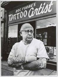 tattoo history vancouver doc forbes in front of his vancouver tattoo studio 1960 s source