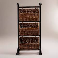 Bathroom Storage Ideas For Towels Stunning Three Rattan Towel Storage Basket With Black Iron Stands