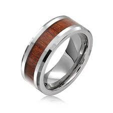 beveled ring simulated wood inset beveled edge tungsten wedding band 8mm