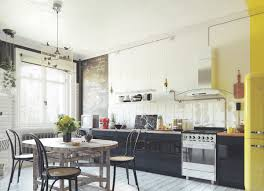 kitchen scandinavian kitchen features yellow smeg fridge and black