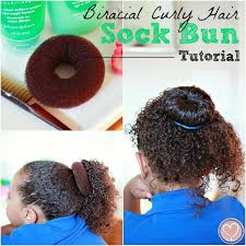sock bun hair curly biracial hair care sock bun tutorial de su