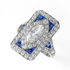 deco diamond sapphire and platinum plaque ring