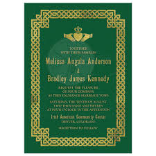 wedding invitations knot celtic wedding invitation green gold claddagh knot
