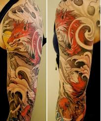 asian style animal tattoos on half sleeve in 2017 real photo