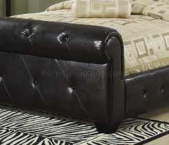 Upholstered Sleigh Bed Upholstered Sleigh Bed By Coaster In Black Faux Leather