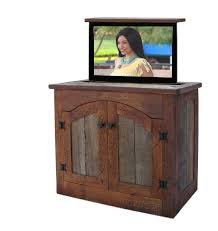 Under Kitchen Cabinet Tv Custom Made Rustic Tv Lift Cabinet Small By Custom Rustic