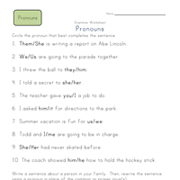 second grade pronoun worksheets all kids network
