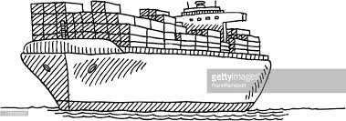 cargo container ship drawing vector art getty images