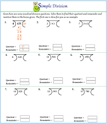 worksheet on division without remainder