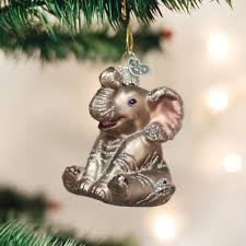 amazon com old world christmas little elephant glass blown