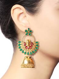jhumka earrings online shopping buy green chaandbaali jhumka earrings by baroque studio at