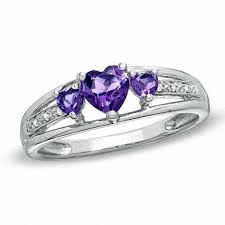 Sterling Silver Wedding Rings by Heart Shaped Amethyst Three Stone And Diamond Accent Ring In