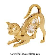 ornament gold playful cat ornament or desk model swarovskiâ