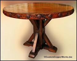 hammered copper dining table copper top dining table refined rustic copper dining table copper