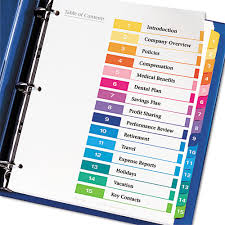 avery 15 tab table of contents color template ready index customizable table of contents asst dividers 15 tab