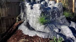 homemade artificial rock backyard waterfall water feature youtube