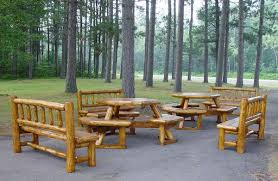 rustic outdoor picnic tables rustic lodge log and timber furniture handcrafted from green