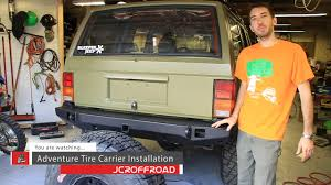 jeep comanche spare tire carrier jcroffroad adventure tire carrier installation by bleepinjeep