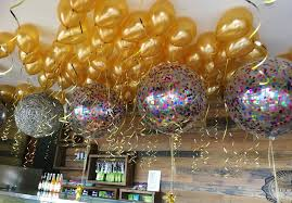 confetti multi with 100 ceiling gold balloons in sydney