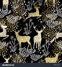 fancy christmas christmas fancy gold seamless pattern deer stock vector 339806876
