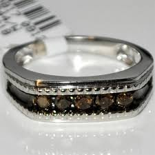 mens wedding bands with diamonds mens wedding band with chocolate diamonds 0 5ctw 10k white gold