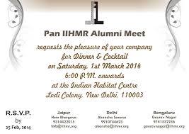 Alumni Meet Invitation Card Iihmr Alumni Meet U2013 1st March 2014 Synapse