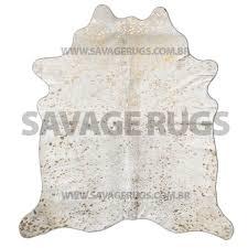 cowhide rug natural white splatt metallic gold