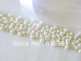 pearl ribbon 2017 new arrival wedding accessories pearl beaded