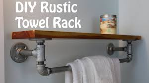 diy rustic iron towel rack and shelf youtube
