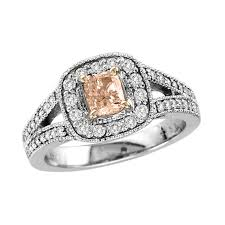 cushion cut split shank engagement rings 1 ct t w pink cushion cut and white split shank