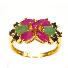 ruby emerald rings images Ruby emerald and sapphire luxury 14ct gold cluster ring r3187 jpg