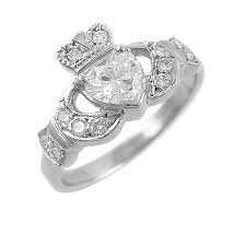 10mm ring white gold heart shaped diamond claddagh ring 10mm