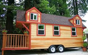 tiny house on wheels for sale used material brown wooden wall with