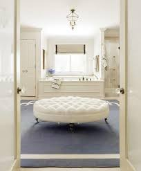 Bathroom Ottoman Ivory And Blue Bathroom With White Oval Tufted Ottoman On Caster