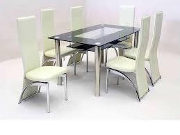 Glass Dining Table With 6 Chairs Black Glass Dining Table And 6 Faux Chairs In Homegenies