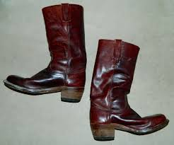 vintage 1970s burgundy frye boots mens 9 d leather harness campus