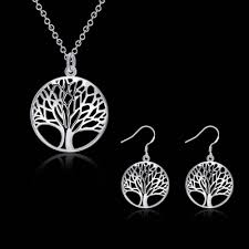 silver necklace sale images On sale tree of life sterling silver necklace and earrings set jpg