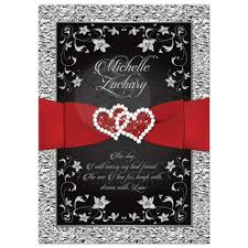 and black wedding invitations wedding invitation black silver floral joined hearts