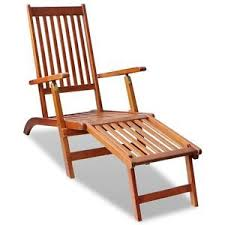 Acacia Wood Outdoor Furniture by Outdoor Deck Chair With Footrest Acacia Wood Garden Patio Sun