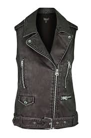 leather biker vest sleeveless faux leather biker jacket topshop