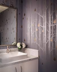 black and silver bathroom ideas photos hgtv silver powder room with tree wallpaper loversiq