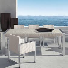 Glass Top Patio Dining Table Living Watercube Outdoor White Rattan Patio Dining Table In