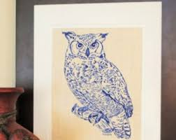 Hanging Art Prints Owl Artwork Etsy