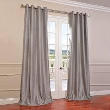 silver grommet blackout vintage textured dupioni silk curtains