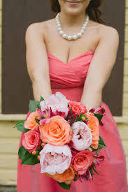 wedding flowers calgary bridesmaid bouquet of peonies coral roses alstroemeria