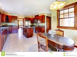 Large Wood Dining Room Table Large Chery Wood Kitchen With Dining Room Table Royalty Free