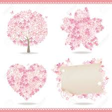 set of spring with cherry blossom royalty free cliparts vectors