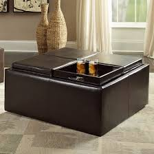 Cocktail Storage Ottoman Cocktail Storage Ottoman With 4 Trays Brown Faux Leather