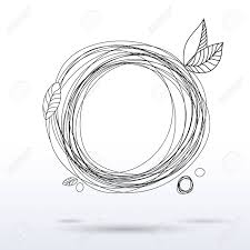doodle style en drawing circle frame hand drawing decorative